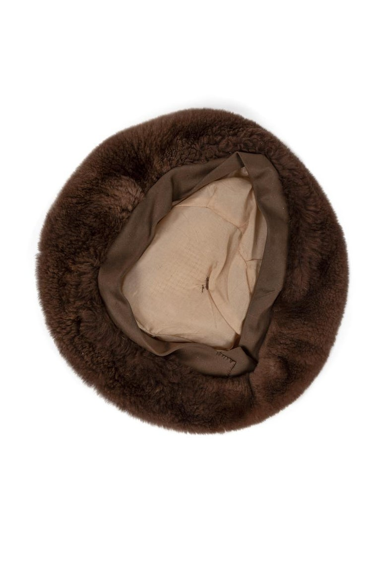 1960s Brown Genuine Sheared Beaver Fur Beret For Sale 3