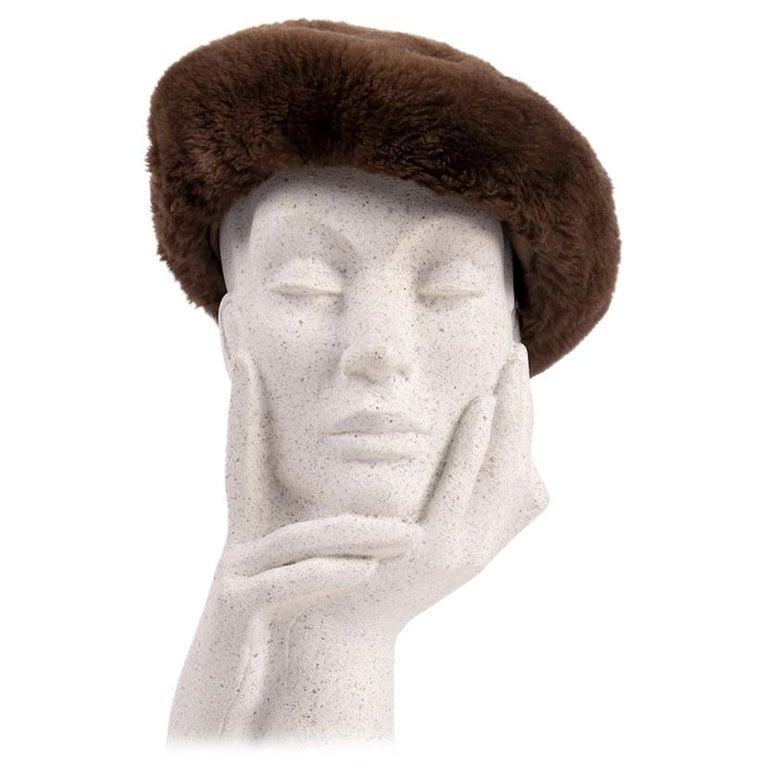 1960s Brown Genuine Sheared Beaver Fur Beret For Sale