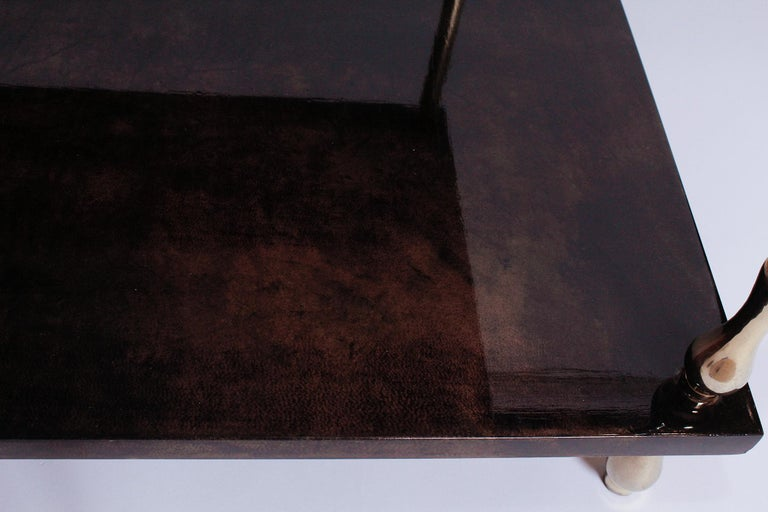 1960s Brown Goatskin and Brass Two-Tiered Table by Aldo Tura For Sale 3