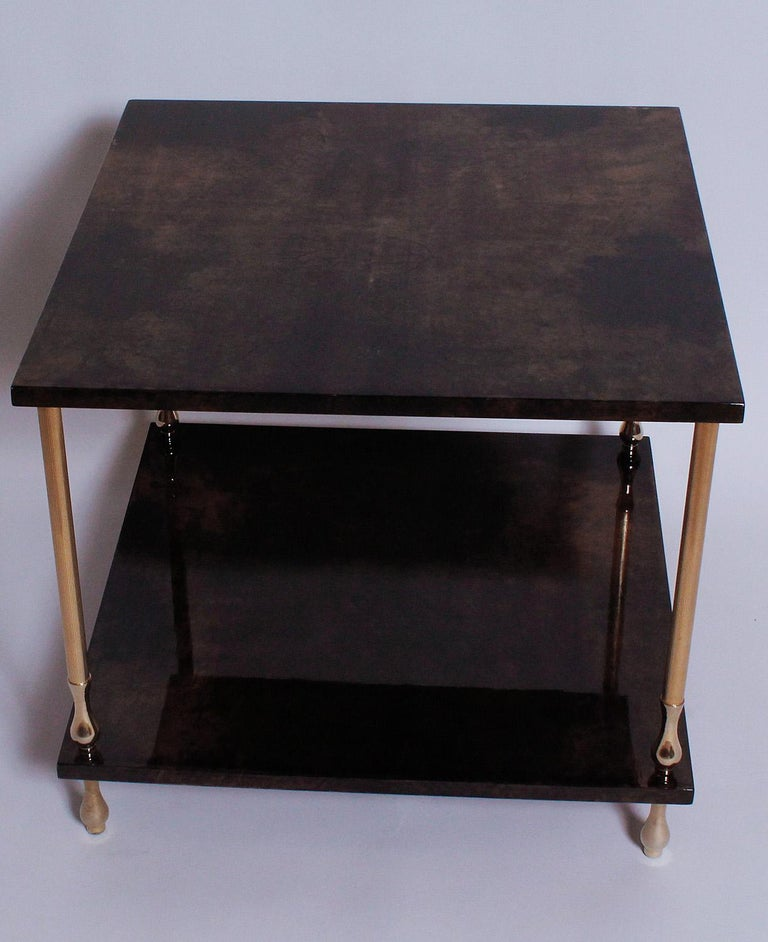 Mid-Century Modern 1960s Brown Goatskin and Brass Two-Tiered Table by Aldo Tura For Sale