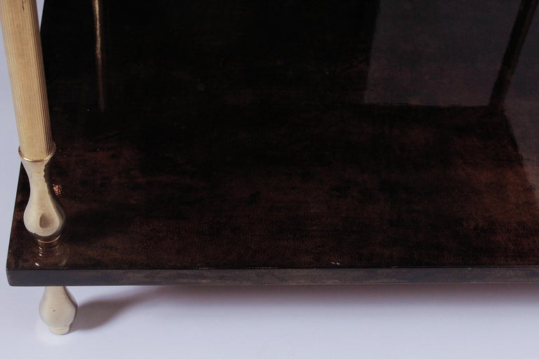 1960s Brown Goatskin and Brass Two-Tiered Table by Aldo Tura For Sale 1