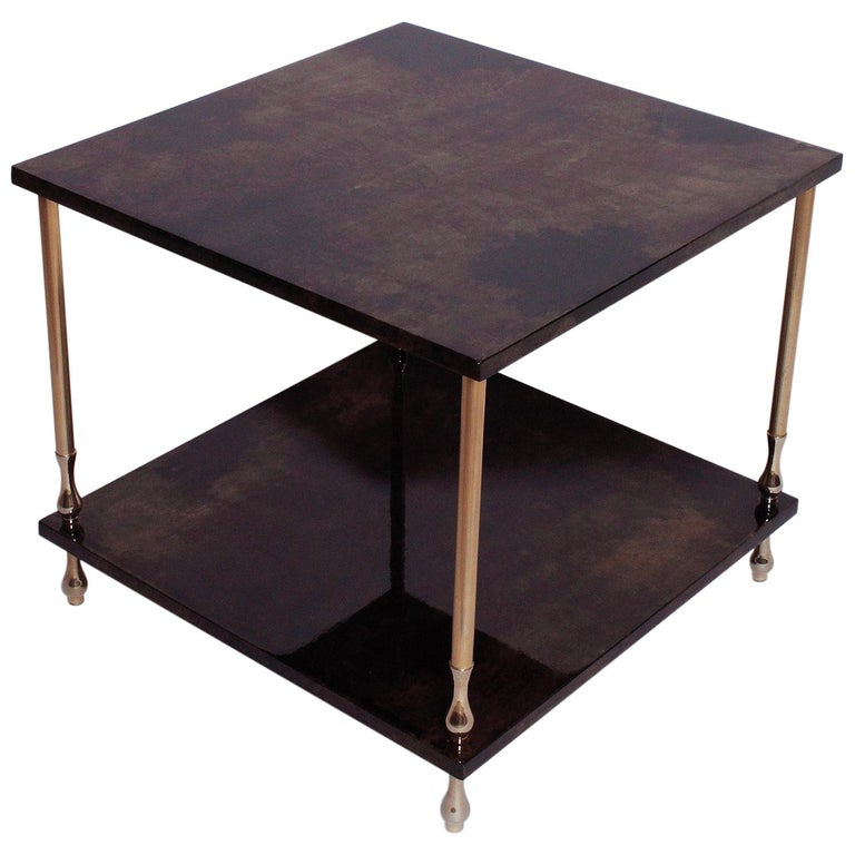 1960s Brown Goatskin and Brass Two-Tiered Table by Aldo Tura For Sale