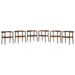 1960s Brown Jacaranda and Cane Chairs by Joaquim Tenreiro