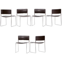 1960s Brown Leather, Chrome Frame Stacking Chairs by Fabricius / Kastholm