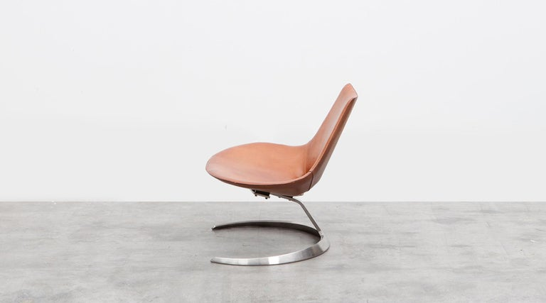 Mid-Century Modern 1960s Brown Leather Scimitar Chair by Fabricius / Kastholm 'a' For Sale