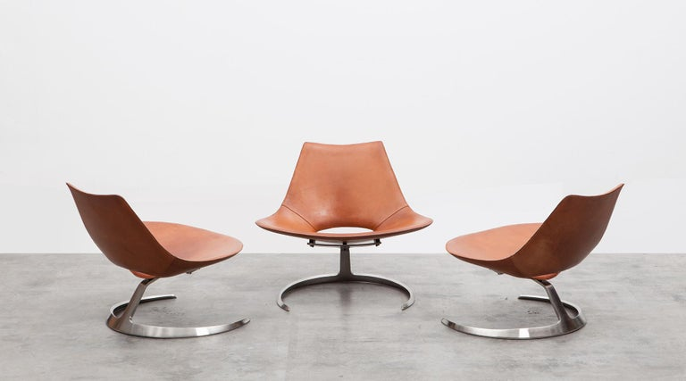1960s Brown Leather Scimitar Chair by Fabricius / Kastholm 'a' For Sale 1