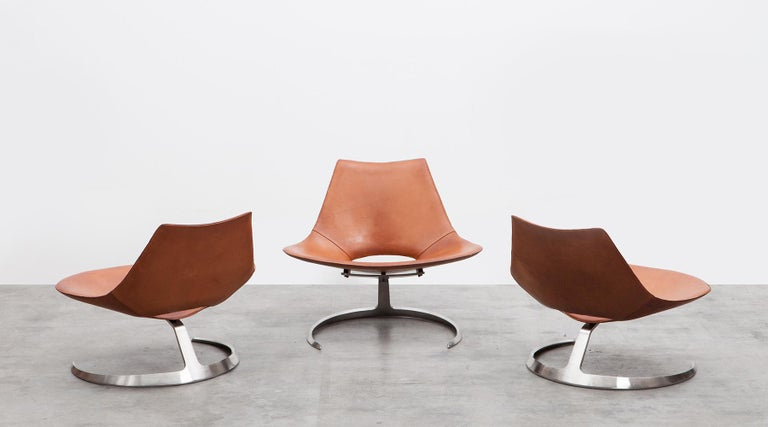 1960s Brown Leather Scimitar Chair by Fabricius / Kastholm 'a' For Sale 2