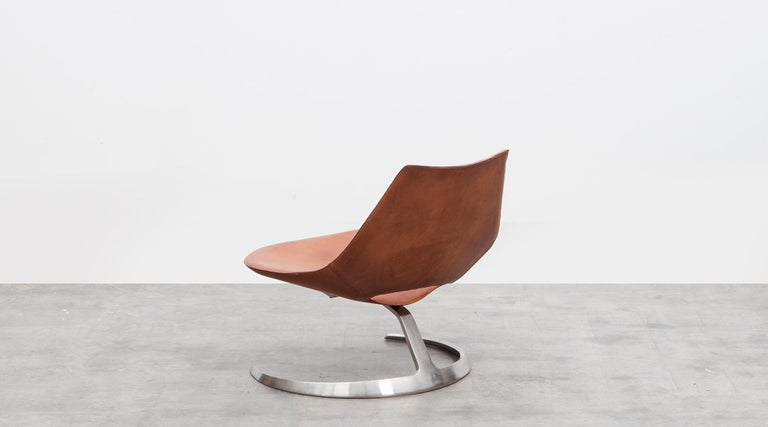 Danish 1960s Brown Leather Scimitar Chair by Fabricius / Kastholm 'B' For Sale