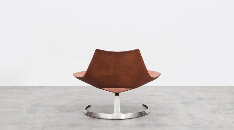 1960s Brown Leather Scimitar Chair by Fabricius / Kastholm 'B' In Excellent Condition For Sale In Frankfurt, Hessen, DE