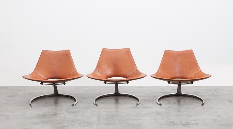 Mid-20th Century 1960s Brown Leather Scimitar Chair by Fabricius / Kastholm 'B' For Sale