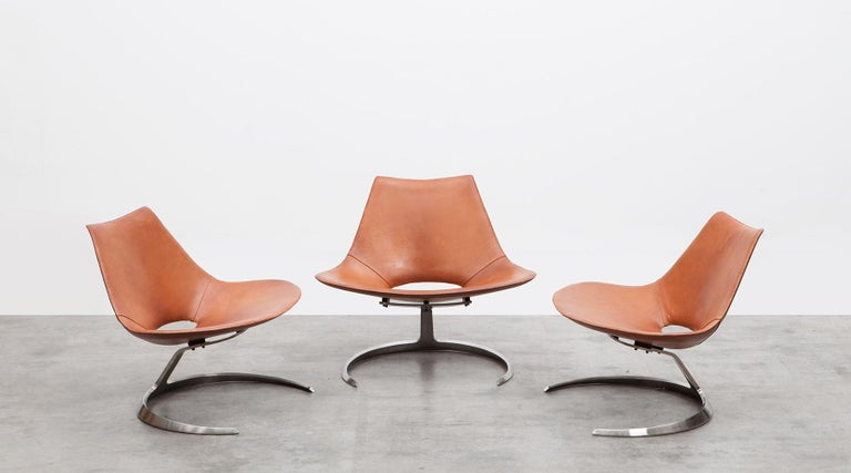 Steel 1960s Brown Leather Scimitar Chair by Fabricius / Kastholm 'B' For Sale