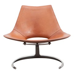 1960s Brown Leather Scimitar Chair by Fabricius / Kastholm 'B'