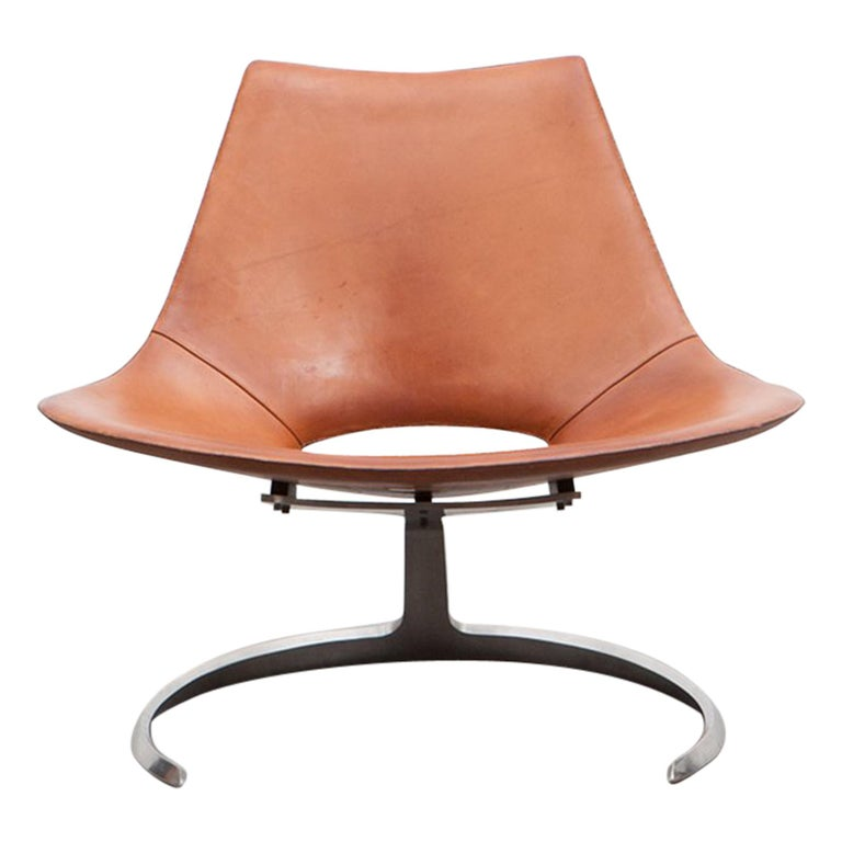 1960s Brown Leather Scimitar Chair by Fabricius / Kastholm 'B' For Sale
