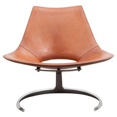 1960s Brown Leather Scimitar Chair by Fabricius / Kastholm 'C'