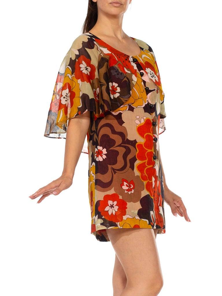 1960S Brown & Orange Cotton Blend Large Floral Print Romper With Capelet For Sale 7