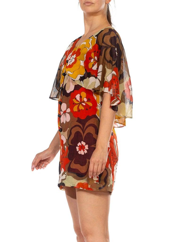 Women's 1960S Brown & Orange Cotton Blend Large Floral Print Romper With Capelet For Sale