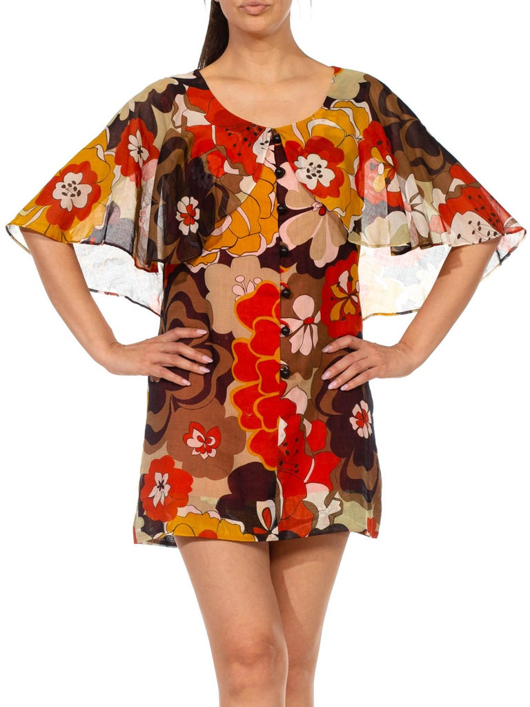 1960S Brown & Orange Cotton Blend Large Floral Print Romper With Capelet For Sale 1