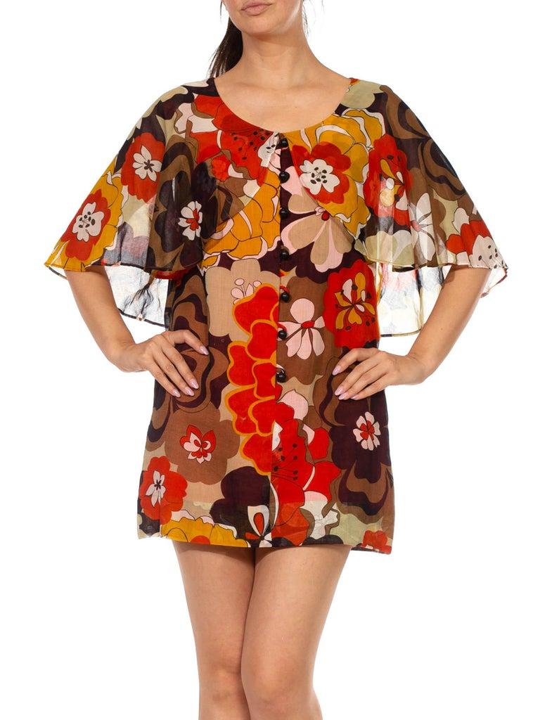 1960S Brown & Orange Cotton Blend Large Floral Print Romper With Capelet For Sale 2