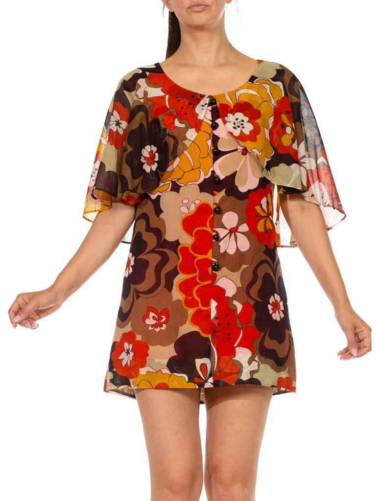 1960S Brown & Orange Cotton Blend Large Floral Print Romper With Capelet For Sale 4