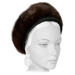 1960s Brown Ranch Mink and Satin Hat
