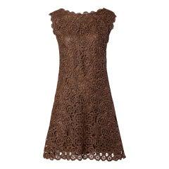 1960s Brown Scalloped Hand Crochet Raffia Lace Shift Dress