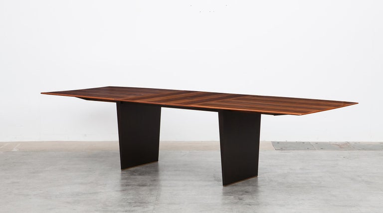 Tawi wooden dining table by Edward Wormley for Dunbar, USA, 1962.  This stunning dining table is designed by American Edward Wormley and comes with a wooden Tawi top which is composed in three leaves, so the table is extendable from 213 to 303 cm.