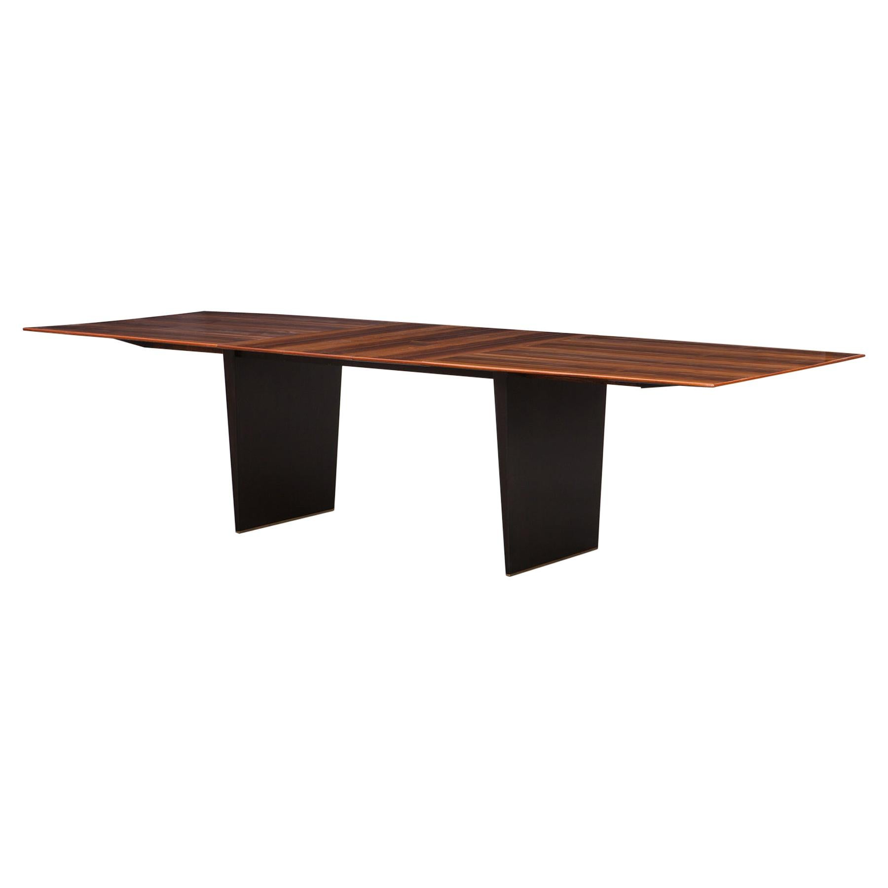 1960s Brown Tawi Wood Dining Table by Edward Wormley 'B'