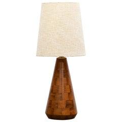 1960s Brown Walnut Base Floor Lamp in American Design