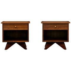 1960s Brown Walnut Pair of Nightstands by George Nakashima