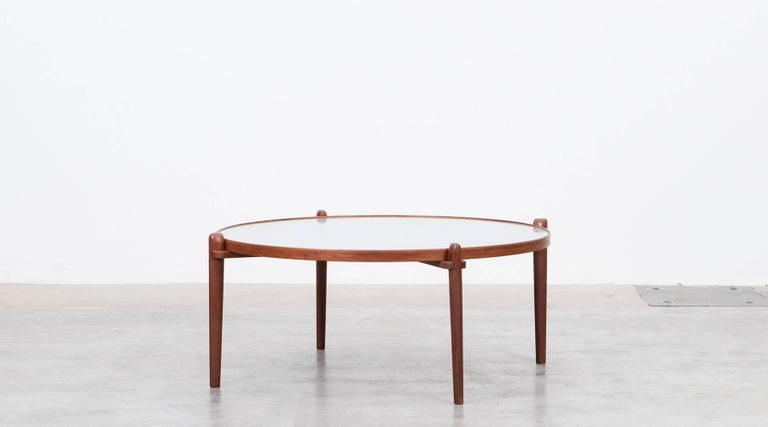 Very rare and special coffee table designed by German Heinz Lilienthal who was also famous for designing wall decorations made of metal, wood and concrete. The beautiful patterned etched tabletop is a stainless steel sheet on a wooden edges