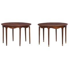 1960s Brown Wooden Pair of Side Tables by Ole Wanscher