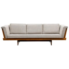 1960s Brown Wooden Sofa, New Upholstery by George Nakashima 'd'