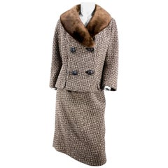 1960s Brown Wool Tweed Suit With Sheared Mink Collar