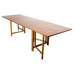 1960s Bruno Mathsson Maria Teak Wood Dining Table Versatile Size Gateleg Sweden