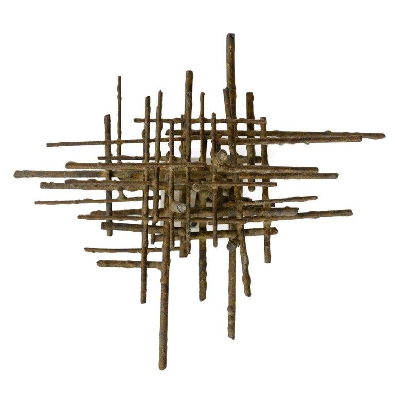 American 1960s Brutalist Bronze Tabletop Sculpture For Sale