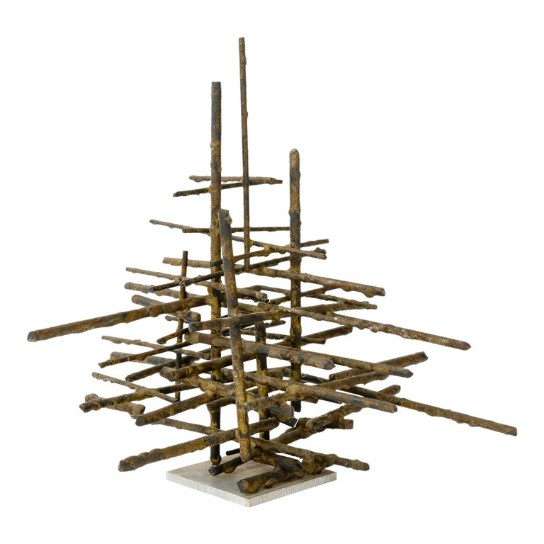 1960s Brutalist Bronze Tabletop Sculpture For Sale