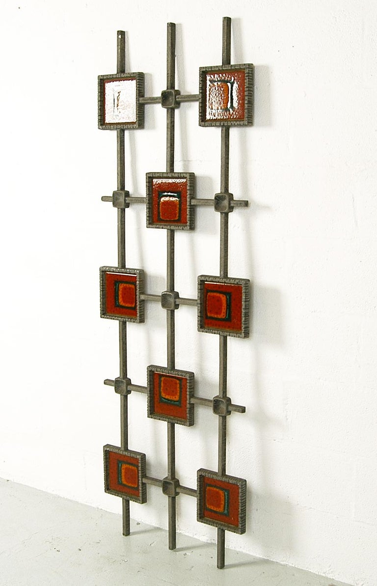 Highly decorative 1960s Brutalist door security grille, made from cast aluminium with wonderful ceramic tile inserts. This vintage architectural piece could easily be mounted on the wall as a piece of art or used as a decorative partition.