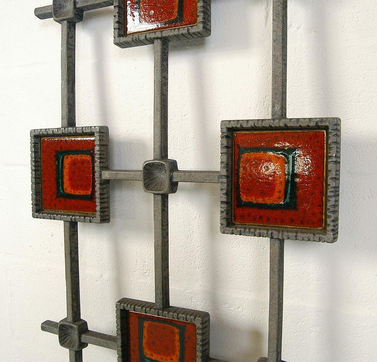 Unknown 1960s Brutalist Cast Aluminium Door Grill Ceramic Tiles Wall Midcentury Art For Sale