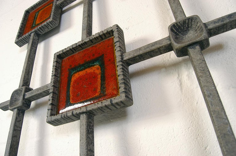 1960s Brutalist Cast Aluminium Door Grill Ceramic Tiles Wall Midcentury Art In Good Condition For Sale In Sherborne, Dorset