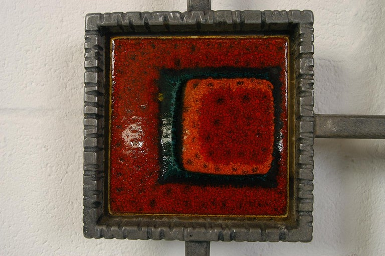1960s Brutalist Cast Aluminium Door Grill Ceramic Tiles Wall Midcentury Art For Sale 1