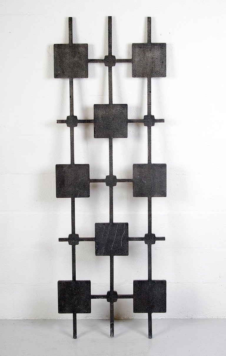 1960s Brutalist Cast Aluminium Door Grill Ceramic Tiles Wall Midcentury Art For Sale 2