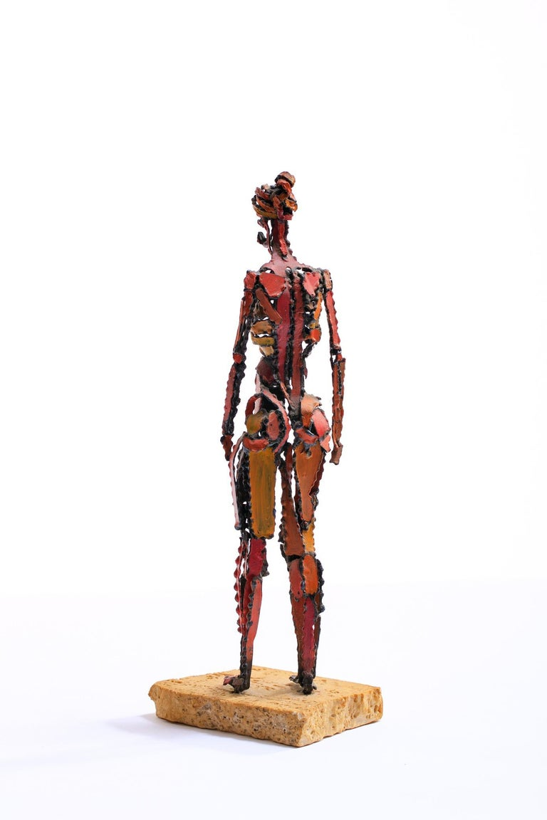 1960s Brutalist Female Nude Scupture Painted Iron on Travertine Base For Sale 4
