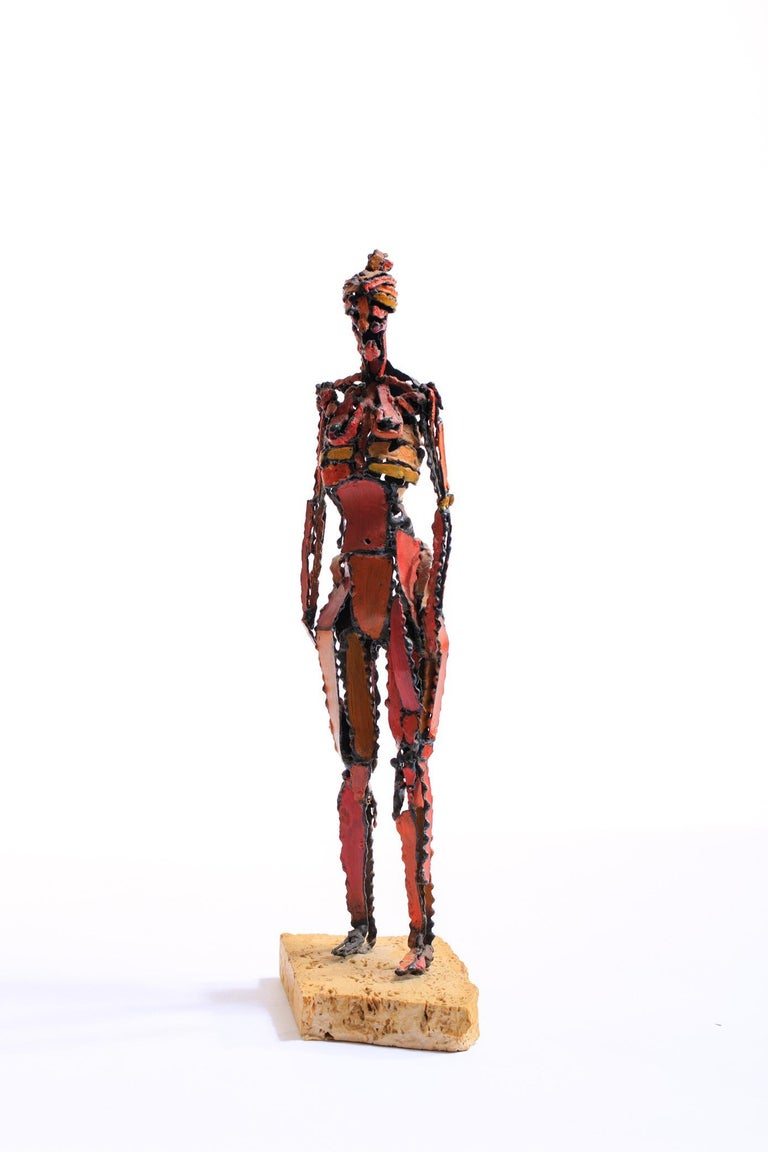 Mid-Century Modern 1960s Brutalist Female Nude Scupture Painted Iron on Travertine Base For Sale