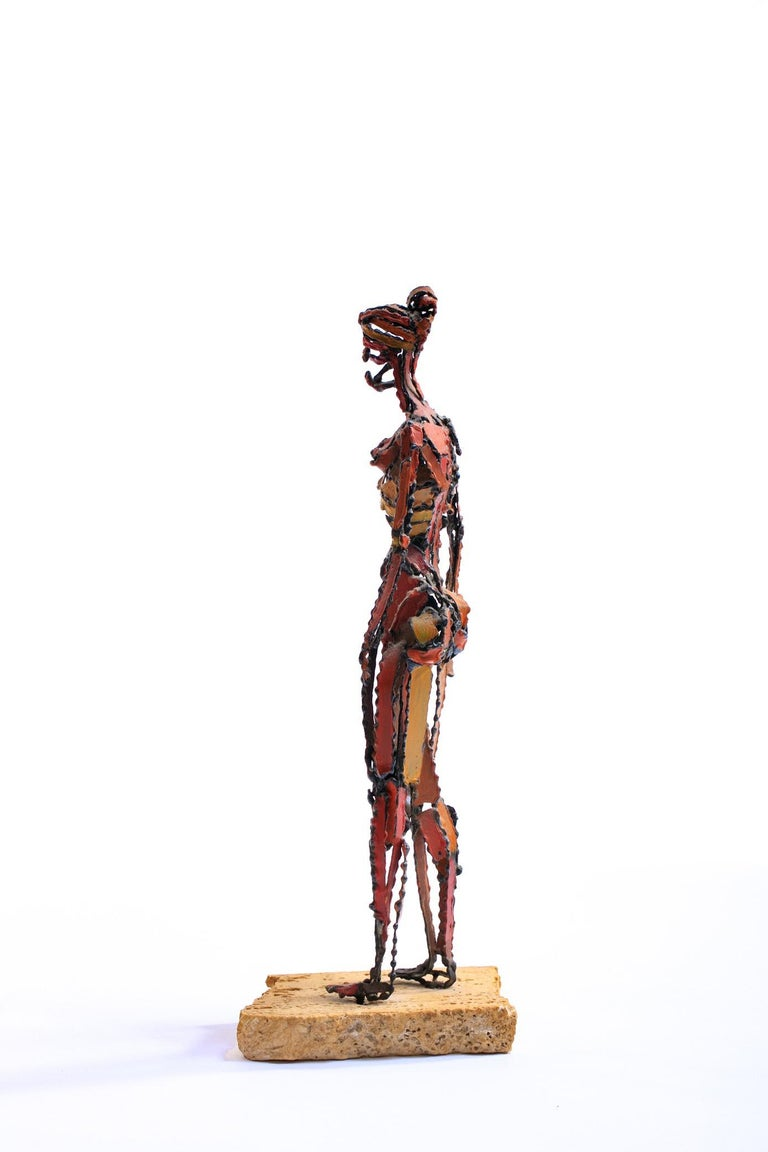 American 1960s Brutalist Female Nude Scupture Painted Iron on Travertine Base For Sale