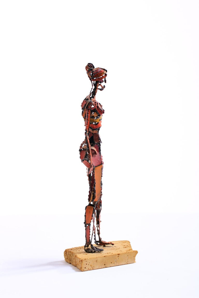 Mid-20th Century 1960s Brutalist Female Nude Scupture Painted Iron on Travertine Base For Sale