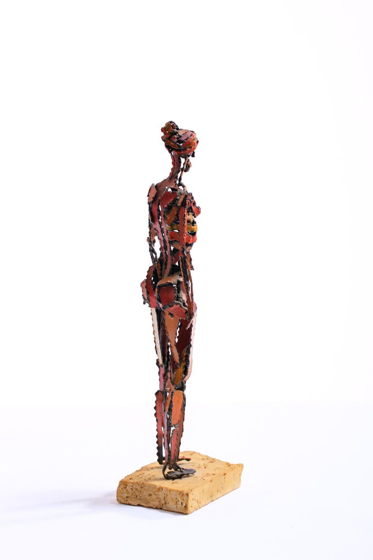 1960s Brutalist Female Nude Scupture Painted Iron on Travertine Base For Sale 1