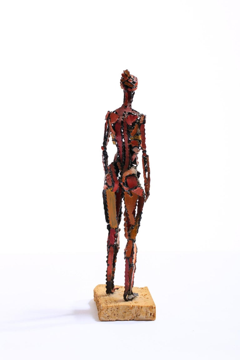 1960s Brutalist Female Nude Scupture Painted Iron on Travertine Base For Sale 3