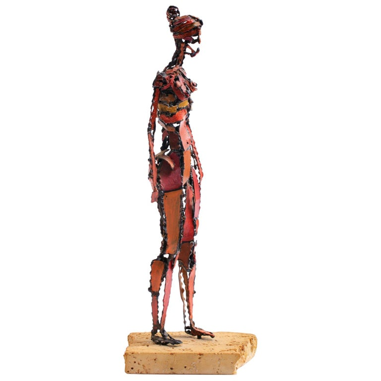 1960s Brutalist Female Nude Scupture Painted Iron on Travertine Base For Sale