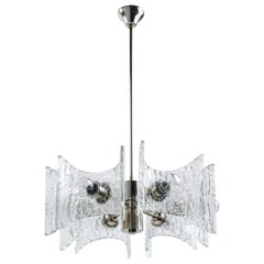 1960s Brutalist Ice Glass Chandelier by Kalmar