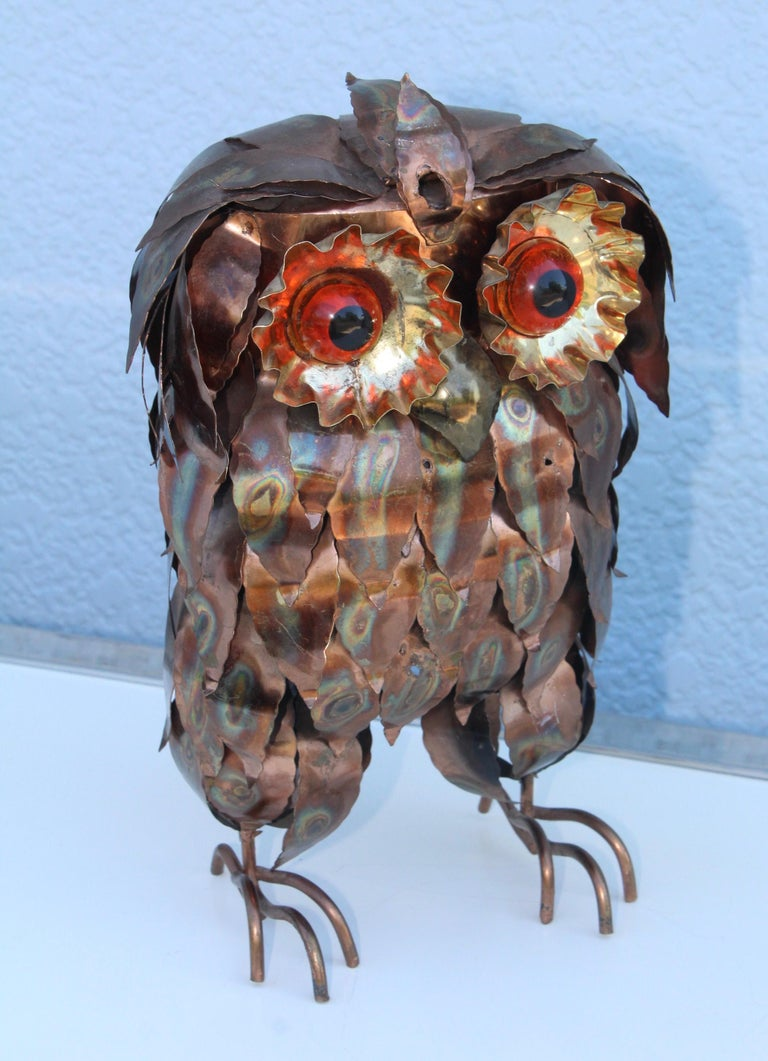 American 1960s Brutalist Owl Sculpture For Sale